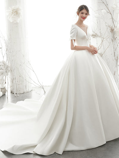 onlybridals Simple Satin A-Line Short-Sleeve Wedding Dress with Illusion Deep V-Back - onlybridals