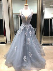onlybridals V Neck Gray Lace Long Prom Dresses, Grey Lace Formal Evening Dresses