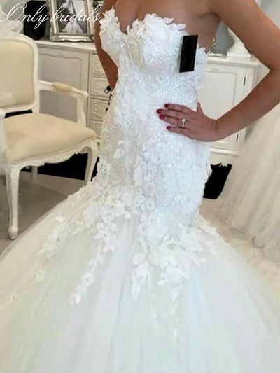 onlybridals Lace Mermaid Wedding Dresses 2020 Appliques Sweetheart Bride Dresses Elegant Wedding Gowns Casamento