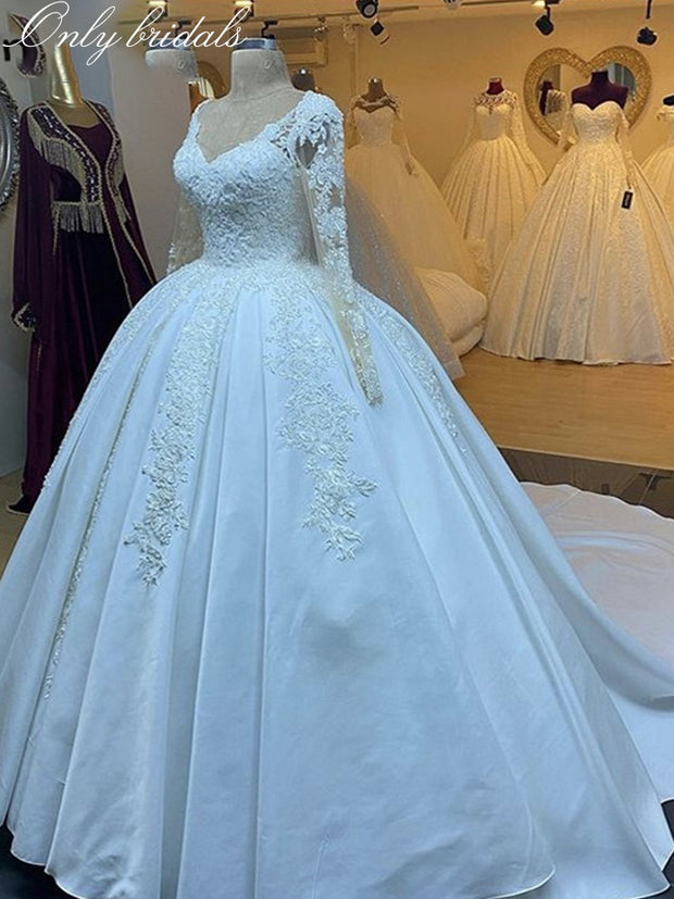 onlybridals Fancy Wedding Dresses Long Sleeves Sweep Train Satin Lace Applique Crystal Wedding Dresses With Lace Up Back vestido de noiva