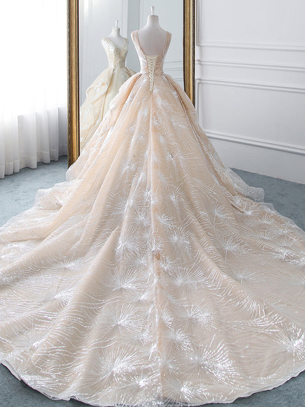 Vivian's Bridal Luxury Starry Sky Wedding Dress 2019 Fairy Ruffle Train Bridal Dres - onlybridals