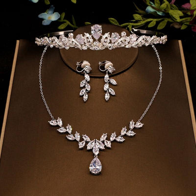 Fashionable Silver Tiara Earrings Flower Necklace Bridal Jewelry Metal Crystal Rhinestone Wedding Accessories