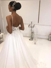 onlybridals  Beach Wedding Dresses 2021 Spaghetti Straps Backless Lace Appliques Boho Bridal Gowns Plus Size Customized Vestido De Noiva