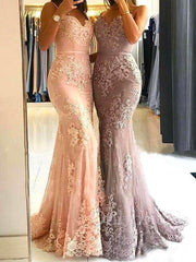 onlybridals Elegant Applique Prom Evening Mermaid Wedding Party Dresses Long Bridesmaid Gown - onlybridals