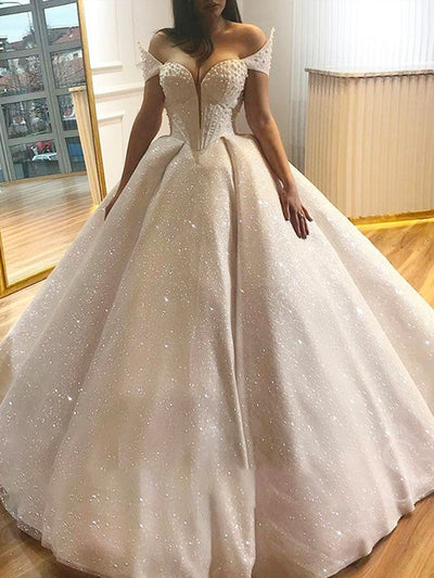Off the Shoulder Ball Gown Sweetheart Pearls Wedding Dress