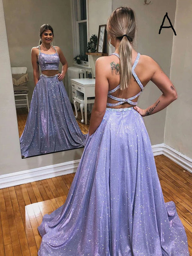 A-line Two Piece Crossed Back Straps Long Prom Dress