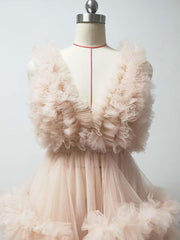 onlybridals  Little peach maternity dress ruffled tulle dress photo shoot dress custom color