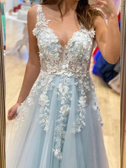 A Line V Neck Light Blue Lace Floral Long Prom Dresses 3D Flowers Light Blue Lace Formal Evening Dresses