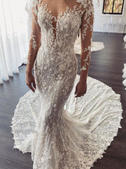 Gorgeous Long Train Lace Open back Mermaid White Wedding Dresses