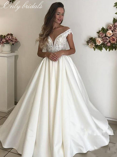 onlybridals White Satin Lace Wedding Dresses Off the Shoulder Beach Boho Appliques Bridal Gown Lace-up Wedding Gown Vintage Illusion