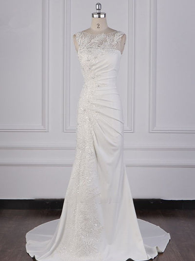 Gorgeous Jewel Mermaid Satin Wedding Dress Sleeveless Ruffles Appliques Beadings Bridal Gowns Online
