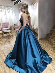 Simple Backless Blue Satin Long Prom Dresses with Pocket Thin Strap Blue Formal Evening Dresses