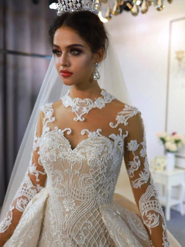 Trendy High neck Mermaid Lace Ivory Wedding Dress