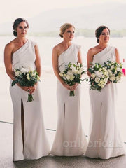 onlybridals  One Shoulder Sleeveless Side Slit Long Satin Bridesmaid Dresses