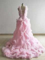 onlybridals Pink Maternity Dress Ruffled Tulle Dress Photo Shoot Dress Custom Color