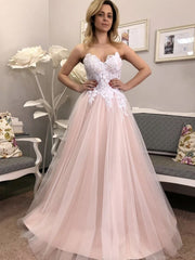 Strapless V Neck Pink Lace Floral Long Prom Dresses, Pink Lace Formal Dresses, Pink Evening Dresses