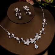 Fashionable Zircon Necklace Earrings Bridal Jewelry 2021 Rhinestone Super Flash Wedding Accessories