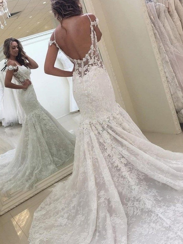 Elegant White Off-the-shoulder Lace Mermaid Backless Wedding Dress