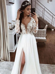 Lace Long Sleeves A-line V-neck Open Back Wedding Dress with Slit