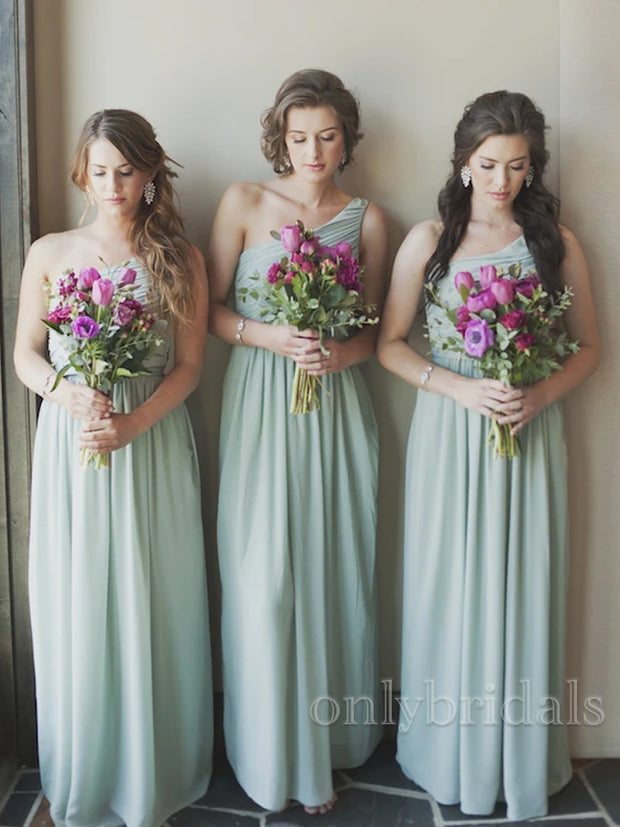 onlybridals Simple One Shoulder Sleeveless Chiffon Long Bridesmaid Dresses