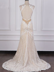 Sexy V-Neck Lace Appliques Wedding Dress Sleeveless Beadings Backless Bridal Gowns On Sale