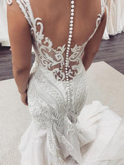 Cap sleeves White Lace Mermaid court Train Wedding Dress