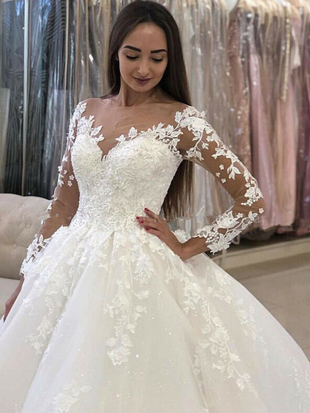 onlybridals White Ivory Wedding Dresses Princess A-Line Bridal Gowns Long Sleeve Appliques