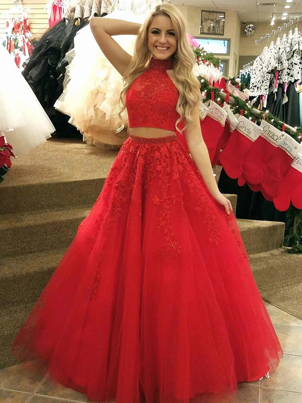 onlybridals High Neck 2 Pieces Red Lace Long Prom Dresses Two Pieces Red Lace Formal Dresses