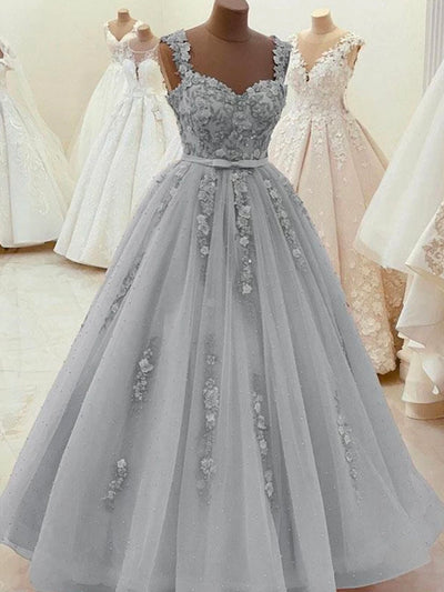 onlybridals Sweetheart Neck Beaded Gray Lace Prom Dresses Gray Lace Formal Dresses Evening Dresses