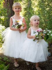 A-Line/Princess Bateau Tulle Ruffles Sleeveless Tea-Length Flower Girl Dresses