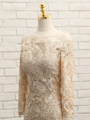onlybridals Champagne Mother Of The Bride Dresses Sheath Long Sleeves Lace Groom Wedding Party Dress Mother Dresses For Wedding - onlybridals