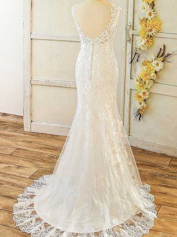 Elegant Straps Sleeveless Mermaid Wedding Dresses Appliques Lace White Bridal Gowns