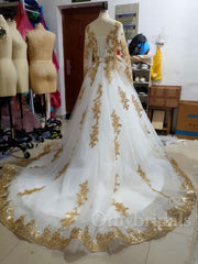 onlybridals  Two Pieces Indian Wedding Dresses White Gold Applique Deep V-Neck Long Sleeves Bridal Gowns Custom