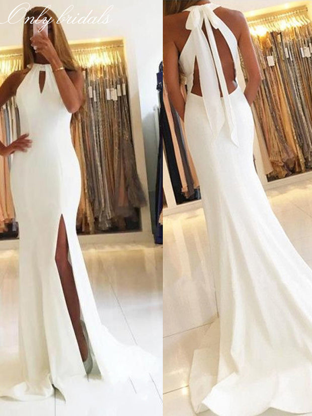 onlybridals White Halter Evening Gowns Side Slit Sleeveless Simple Open-Back Mermaid Long Formal Party Dresses