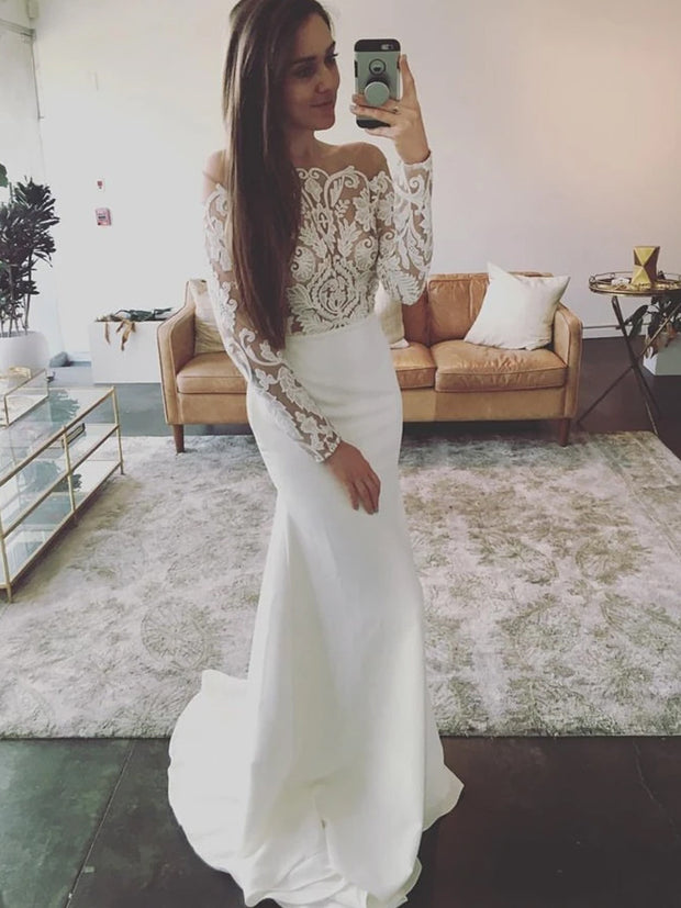Off-The-Shoulder Lace Long Sleeves Mermaid Wedding Dress