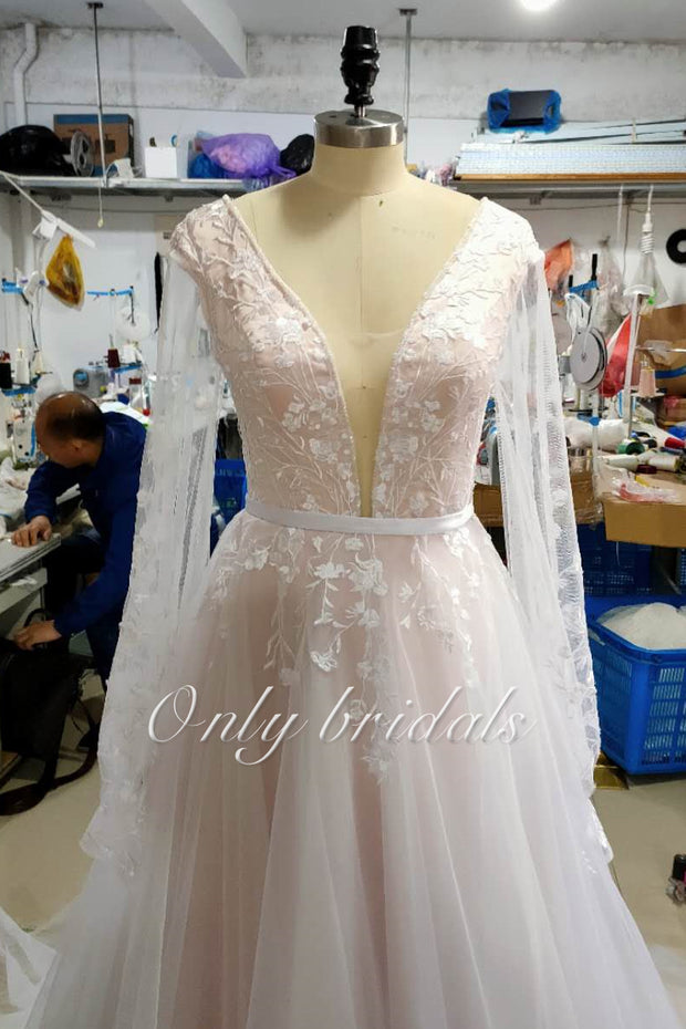 onlybridals Boho Wedding Dress Puff Long Sleeves A-Line Appliques Floor Length real wedding dress - onlybridals