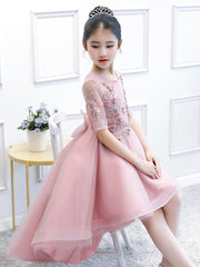 Pink Flower Girl Dresses 2021 Tulle Short Front Long Back Little Girl Pageant Dresses With Beading Appliques