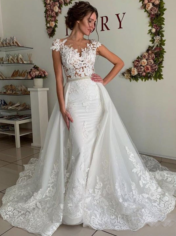 onlybridals Mermaid With Sleeves Cap Sleeves Appliques Mermaid Wedding Dress