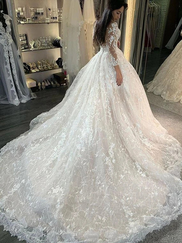onlybridals Lace Princess Ball Gown Wedding Dresses Long Sleeves Sheer O-Neck Button 2020 Bride Dress Bridal Gowns Vestido de noiva