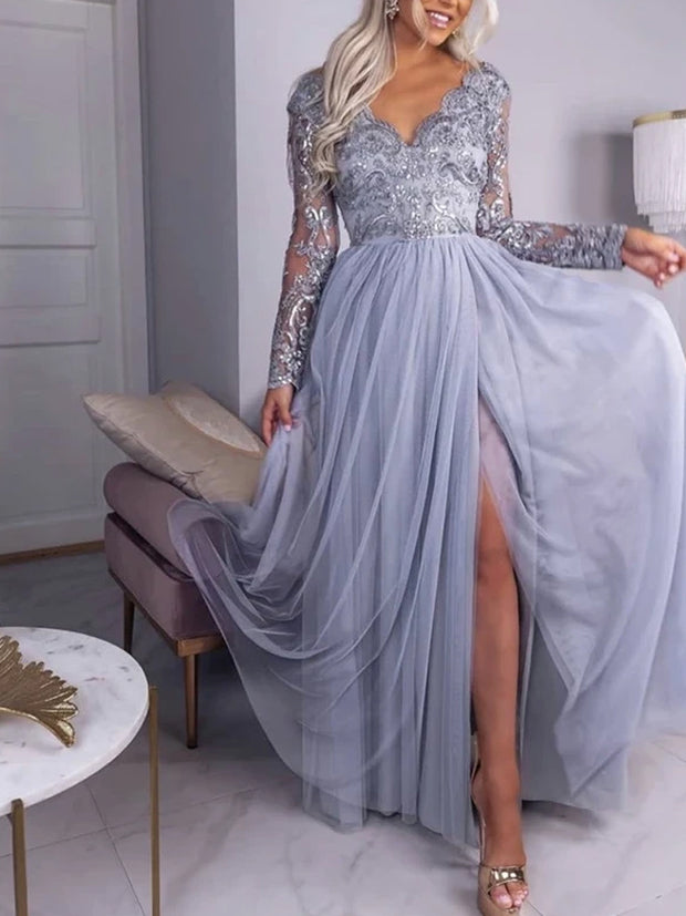 Chiffon Sky Blue Prom Dress Sheath One Shoulder Evening Dress