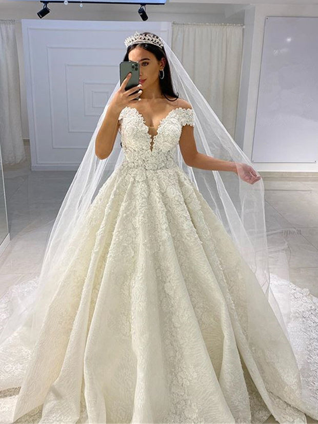 onlybridals Sexy V Neck Beads Lace Wedding Dress 2020 Vestido de Noiva Romantic Cap Sleeve Ball Gown Wedding Bridal Gowns - onlybridals