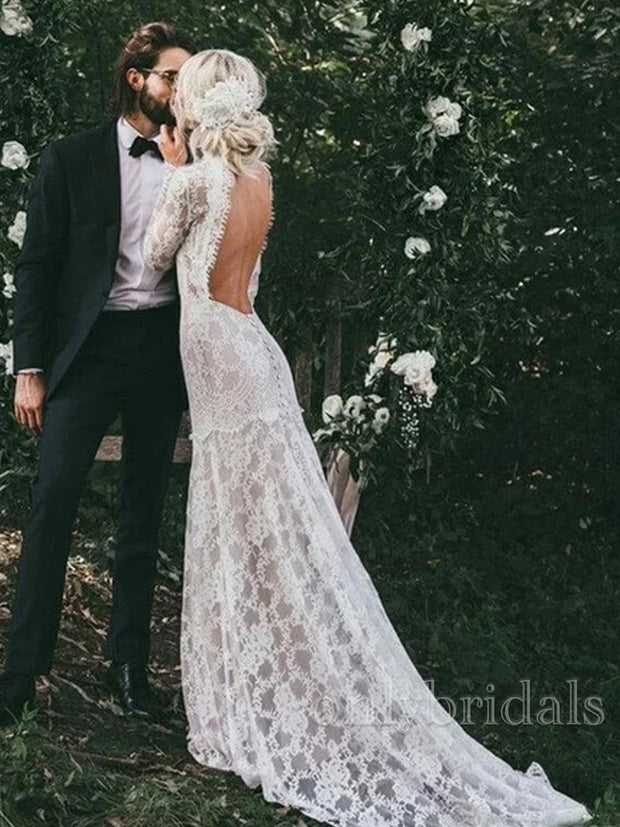 onlybridals  Long Sleeves High Neck Backless Lace Boho Wedding Dresses - onlybridals