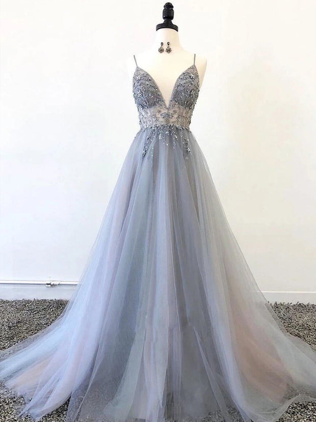 onlybridals Sparkly Prom Dresses Aline Spaghetti Straps Long Grey Prom Dress Fashion Evening Dress