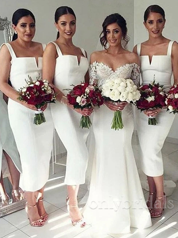onlybridals  White Sleeveless Straps Slim Line Satin Cheap Bridesmaid Dresses