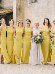 onlybridals Cheap Yellow Sleeveless Backless Side Slit Long Bridesmaid Dresses