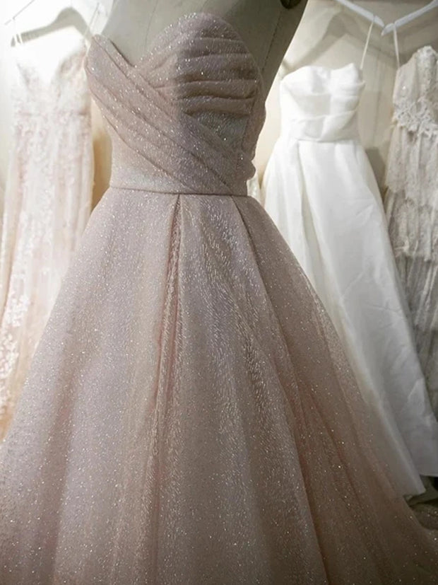 Charming Sparkly Sweetheart A-line Wedding Dresses With Sweep Train