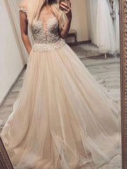 A-line V-neck Off-Shoulder Tulle Long Prom Dresses