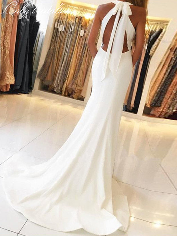 onlybridals White Halter Evening Gowns Side Slit Sleeveless Simple Open-Back Mermaid Long Formal Party Dresses - onlybridals