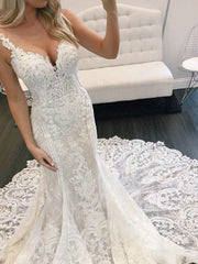 onlybridals Kiss Mermaid Wedding Dress 2021 Vestidos de noiva Plus Size Bridal Gowns Long Train V Neck Spaghetti Straps Häämekot