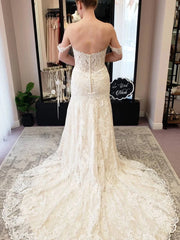 Off-the-Shoulder Mermaid Iovry Wedding Dress with Lace